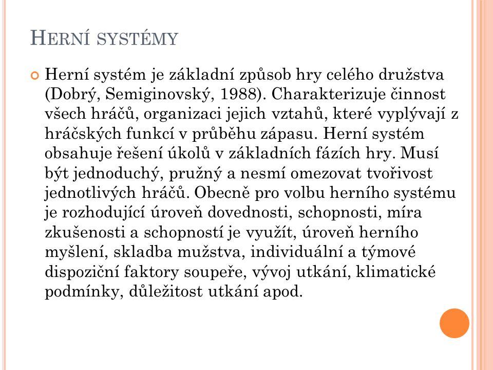 H ERNÍ SYSTÉMY Herní systém je základní způsob hry celého družstva (Dobrý, Semiginovský, 1988). Charakterizuje činnost všech hráčů, organizaci jejich