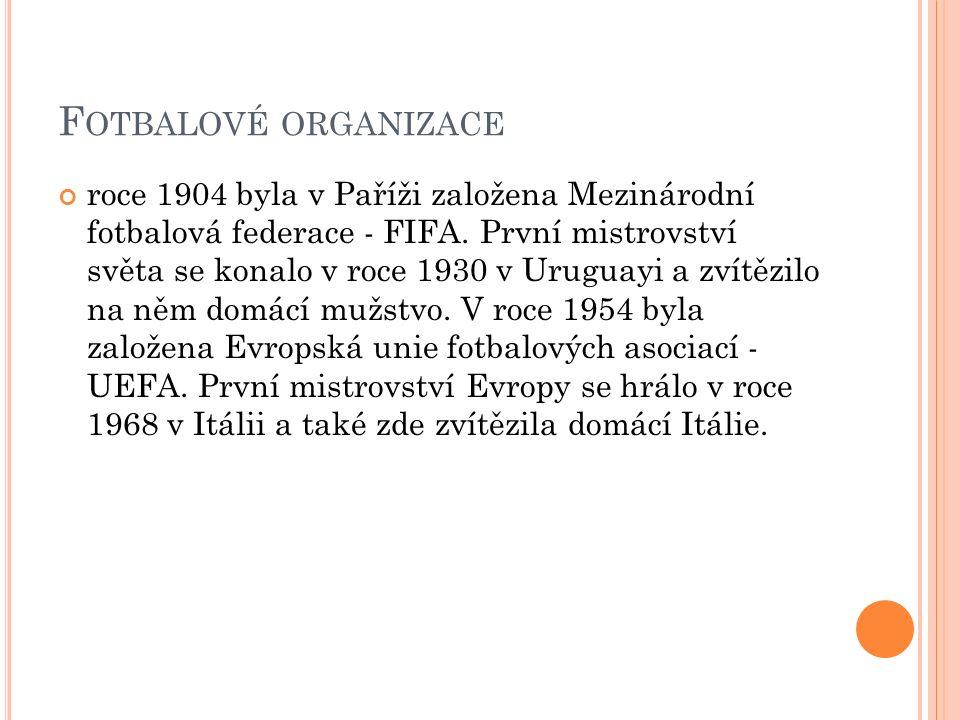 F OTBALOVÉ ORGANIZACE roce 1904 byla v Paříži založena Mezinárodní fotbalová federace - FIFA. První mistrovství světa se konalo v roce 1930 v Uruguayi