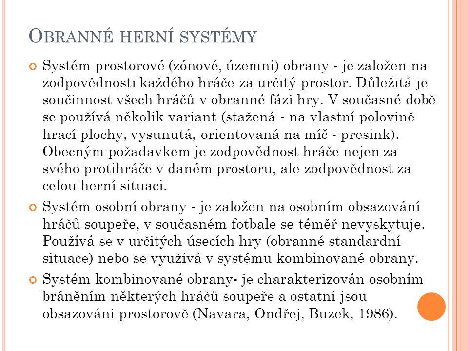 O BRANNÉ HERNÍ SYSTÉMY Systém prostorové (zónové, územní) obrany - je založen na zodpovědnosti každého hráče za určitý prostor. Důležitá je součinnost