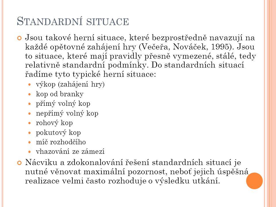 S TANDARDNÍ SITUACE Jsou takové herní situace, které bezprostředně navazují na každé opětovné zahájení hry (Večeřa, Nováček, 1995).