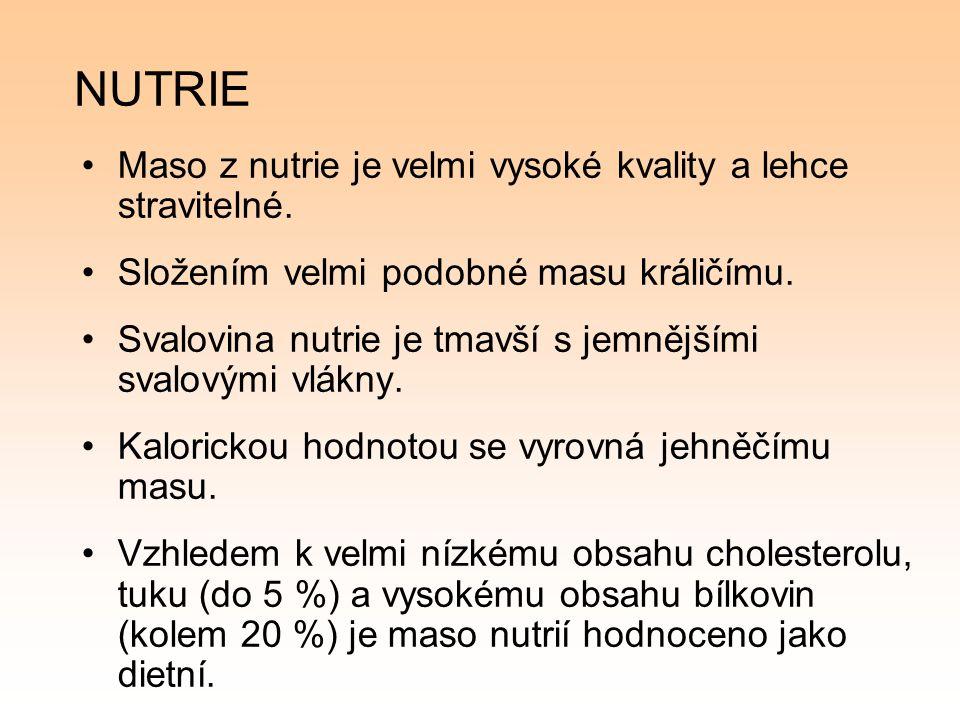 NUTRIE Maso z nutrie je velmi vysoké kvality a lehce stravitelné.