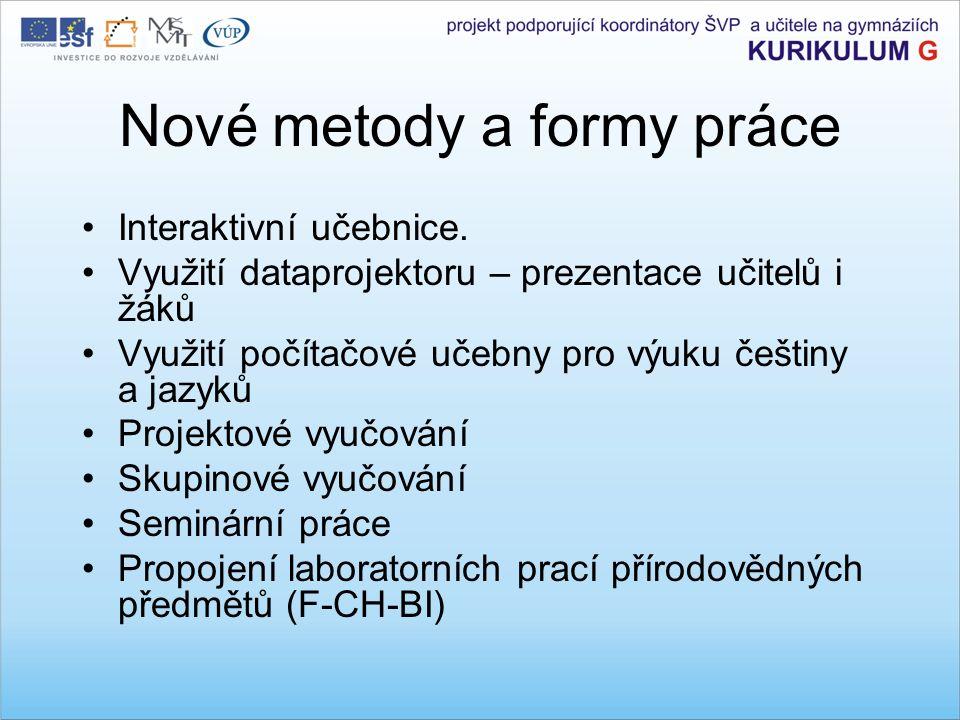 Nové metody a formy práce Interaktivní učebnice.