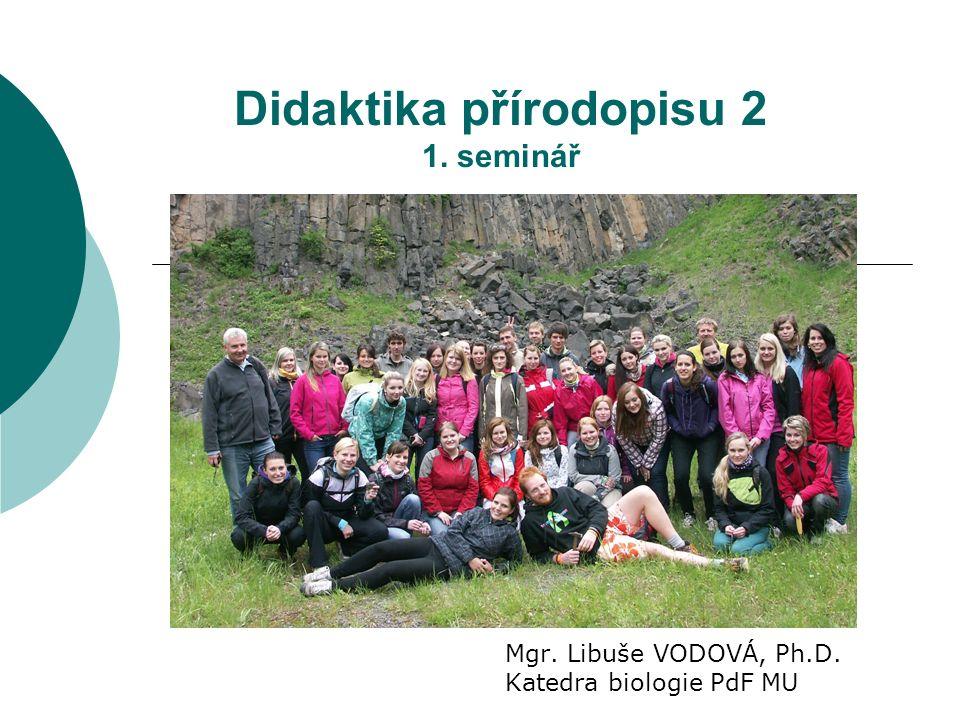 Didaktika přírodopisu 2 1. seminář Mgr. Libuše VODOVÁ, Ph.D. Katedra biologie PdF MU