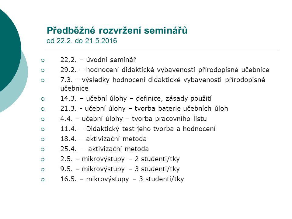 Předběžné rozvržení seminářů od 22.2. do 21.5.2016  22.2. – úvodní seminář  29.2. – hodnocení didaktické vybavenosti přírodopisné učebnice  7.3. –