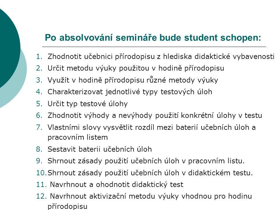 Po absolvování semináře bude student schopen: 1.Zhodnotit učebnici přírodopisu z hlediska didaktické vybavenosti 2.Určit metodu výuky použitou v hodin