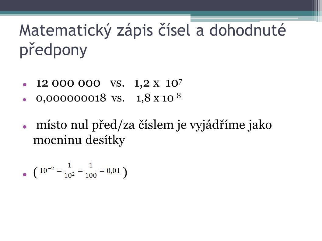 Matematický zápis čísel a dohodnuté předpony 12 000 000 vs.