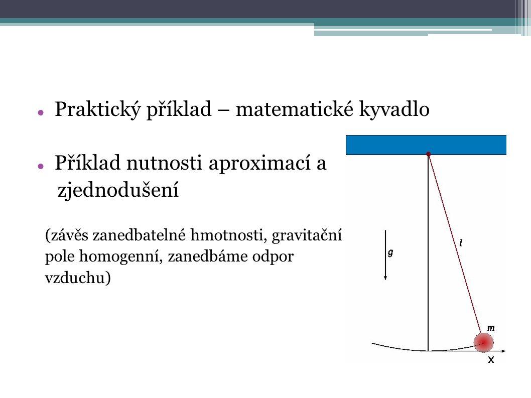 Praktický příklad – matematické kyvadlo Příklad nutnosti aproximací a zjednodušení (závěs zanedbatelné hmotnosti, gravitační pole homogenní, zanedbáme odpor vzduchu)