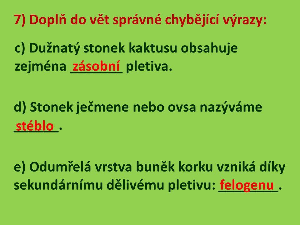 7) Doplň do vět správné chybějící výrazy: c) Dužnatý stonek kaktusu obsahuje zejména _______ pletiva.
