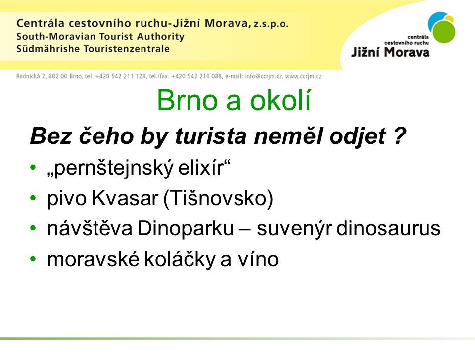 """Brno a okolí Bez čeho by turista neměl odjet ? """"pernštejnský elixír"""" pivo Kvasar (Tišnovsko) návštěva Dinoparku – suvenýr dinosaurus moravské koláčky"""