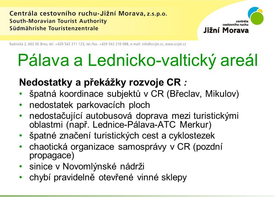Pálava a Lednicko-valtický areál Nedostatky a překážky rozvoje CR : špatná koordinace subjektů v CR (Břeclav, Mikulov) nedostatek parkovacích ploch nedostačující autobusová doprava mezi turistickými oblastmi (např.