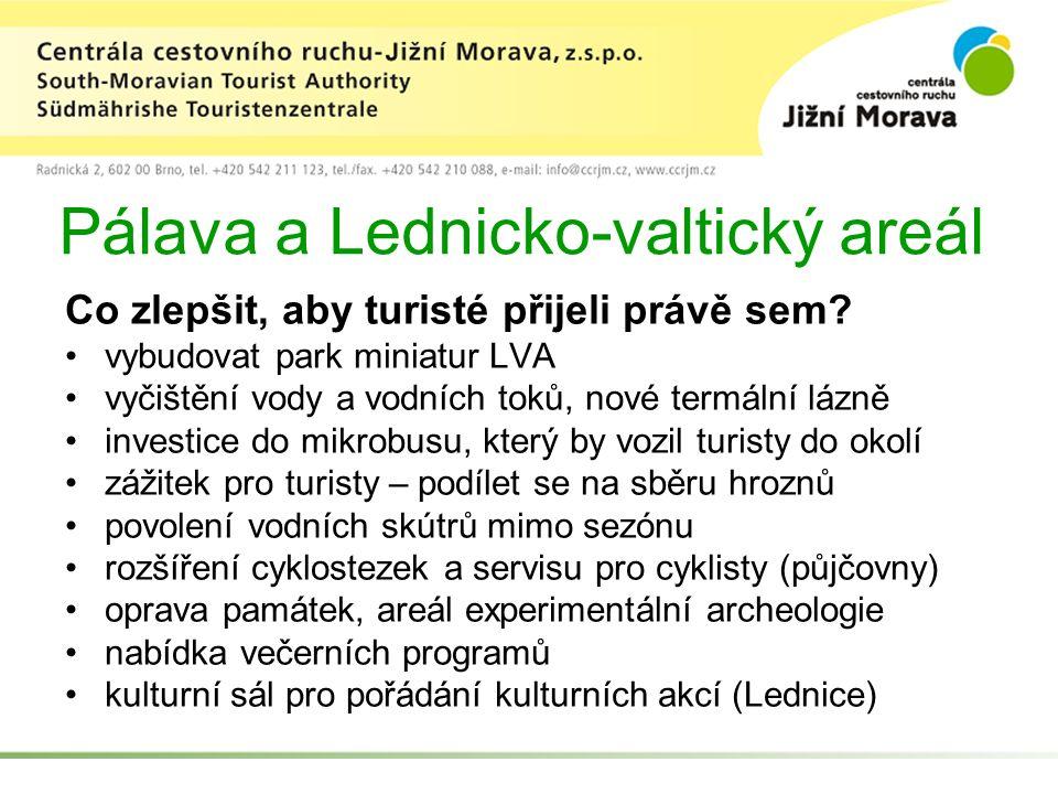 Pálava a Lednicko-valtický areál Co zlepšit, aby turisté přijeli právě sem? vybudovat park miniatur LVA vyčištění vody a vodních toků, nové termální l
