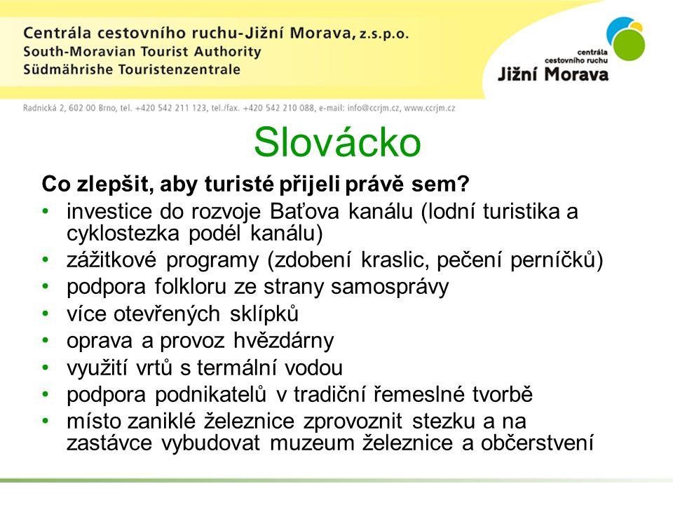 Slovácko Co zlepšit, aby turisté přijeli právě sem? investice do rozvoje Baťova kanálu (lodní turistika a cyklostezka podél kanálu) zážitkové programy