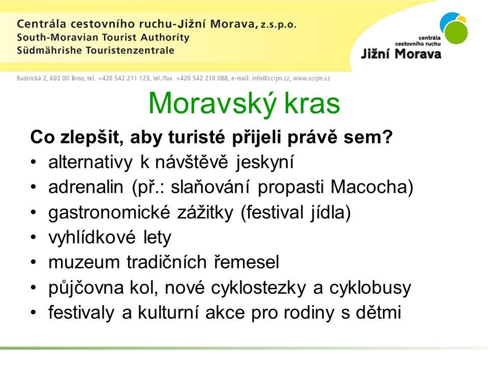 Moravský kras Co zlepšit, aby turisté přijeli právě sem.