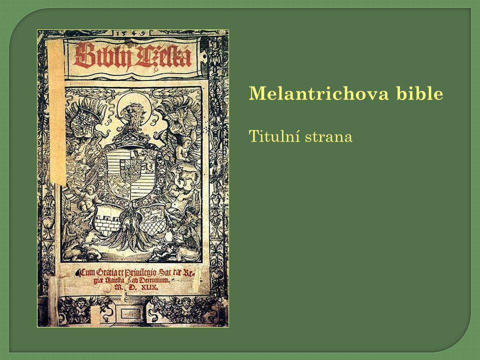 Melantrichova bible Titulní strana