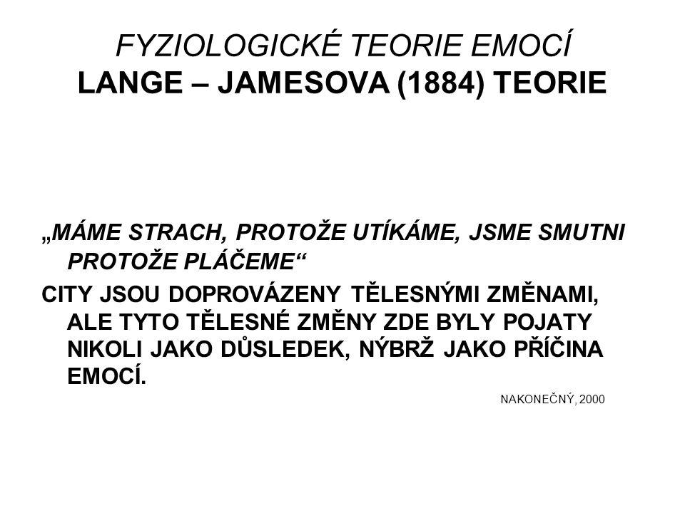 """FYZIOLOGICKÉ TEORIE EMOCÍ LANGE – JAMESOVA (1884) TEORIE """" MÁME STRACH, PROTOŽE UTÍKÁME, JSME SMUTNI PROTOŽE PLÁČEME CITY JSOU DOPROVÁZENY TĚLESNÝMI ZMĚNAMI, ALE TYTO TĚLESNÉ ZMĚNY ZDE BYLY POJATY NIKOLI JAKO DŮSLEDEK, NÝBRŽ JAKO PŘÍČINA EMOCÍ."""