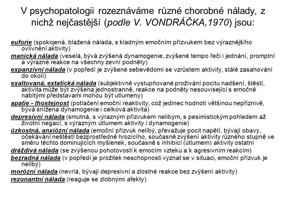 V psychopatologii rozeznáváme různé chorobné nálady, z nichž nejčastější (podle V.