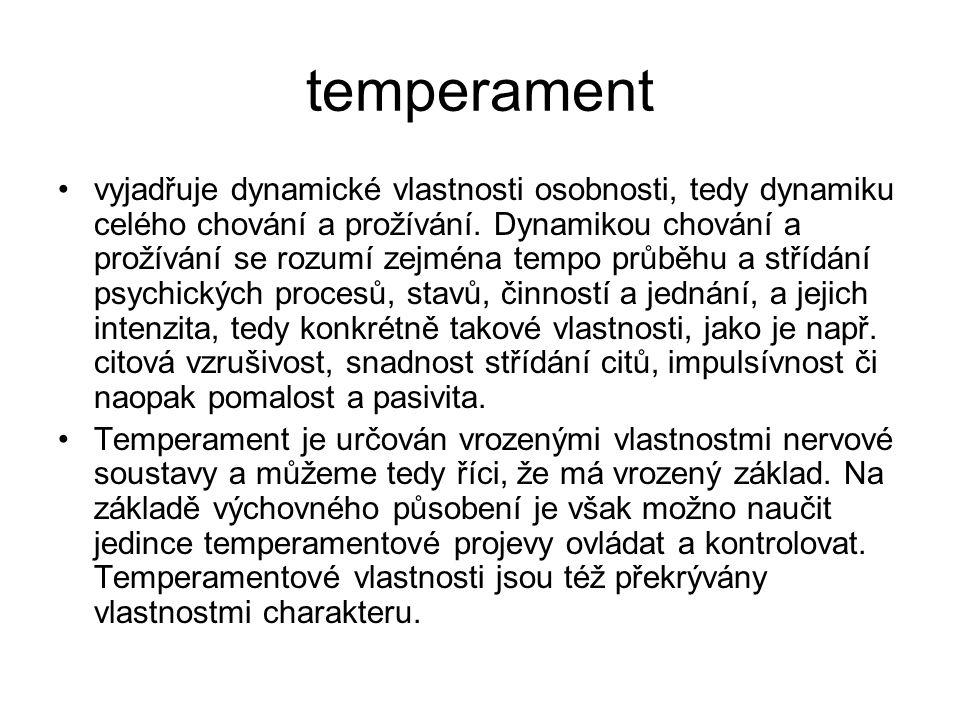 temperament vyjadřuje dynamické vlastnosti osobnosti, tedy dynamiku celého chování a prožívání.