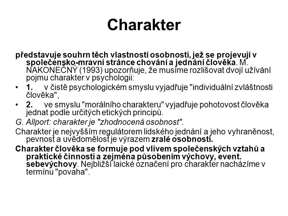 Charakter představuje souhrn těch vlastností osobnosti, jež se projevují v společensko-mravní stránce chování a jednání člověka.