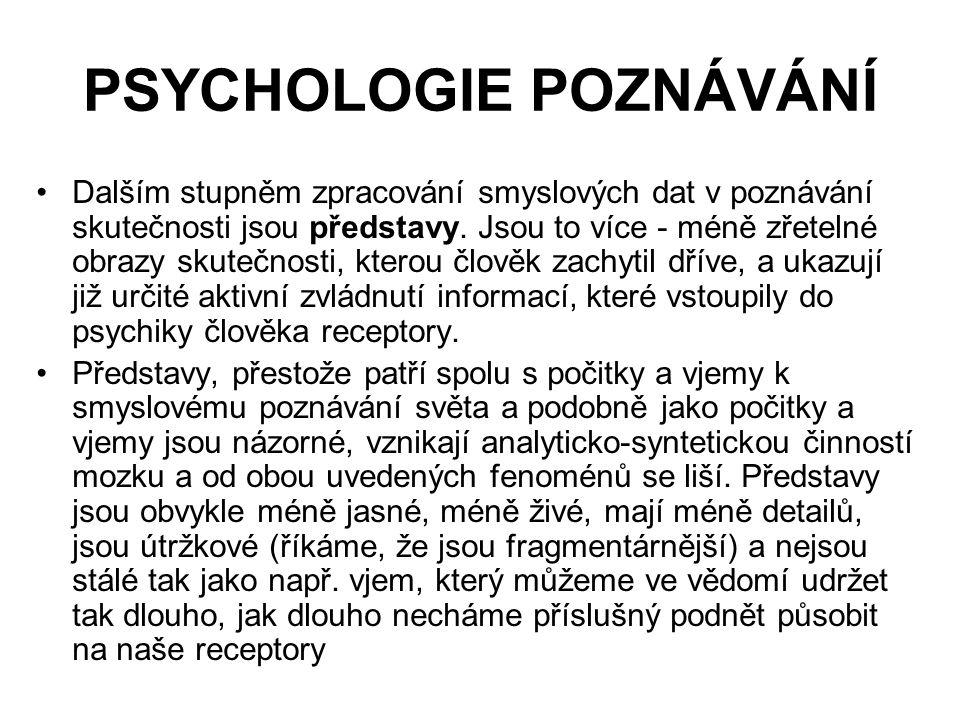 PSYCHOLOGIE POZNÁVÁNÍ Dalším stupněm zpracování smyslových dat v poznávání skutečnosti jsou představy.