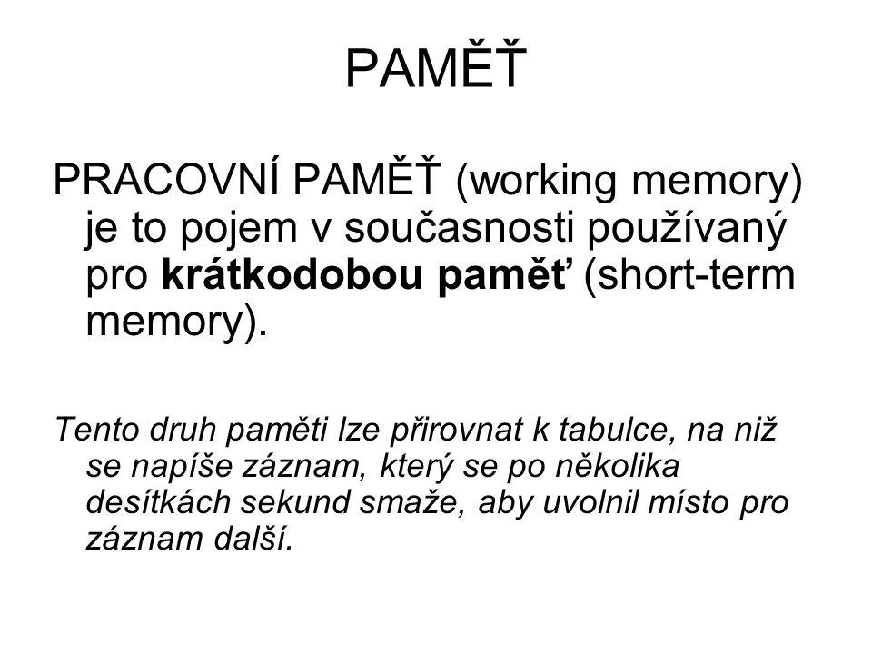PAMĚŤ PRACOVNÍ PAMĚŤ (working memory) je to pojem v současnosti používaný pro krátkodobou paměť (short-term memory).