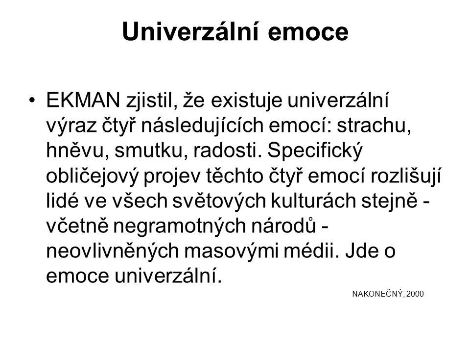 Univerzální emoce EKMAN zjistil, že existuje univerzální výraz čtyř následujících emocí: strachu, hněvu, smutku, radosti.