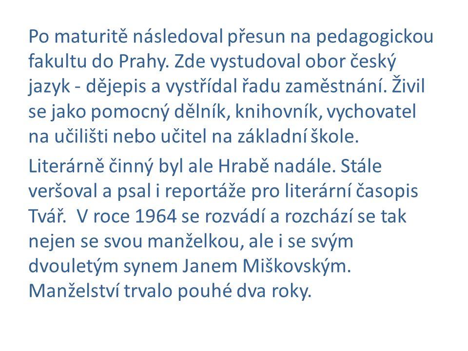 Po maturitě následoval přesun na pedagogickou fakultu do Prahy. Zde vystudoval obor český jazyk - dějepis a vystřídal řadu zaměstnání. Živil se jako p