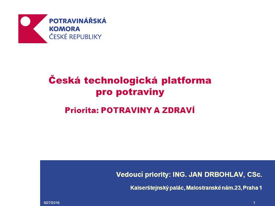 9/27/20161 Česká technologická platforma pro potraviny Priorita: POTRAVINY A ZDRAVÍ Vedoucí priority: ING.