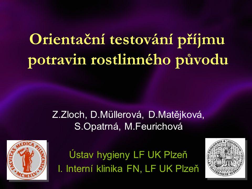 Orientační testování příjmu potravin rostlinného původu Z.Zloch, D.Müllerová, D.Matějková, S.Opatrná, M.Feurichová Ústav hygieny LF UK Plzeň I.