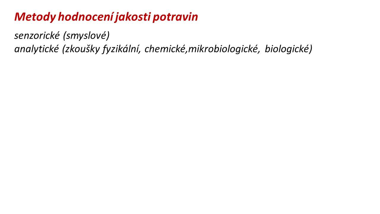 Metody hodnocení jakosti potravin senzorické (smyslové) analytické (zkoušky fyzikální, chemické,mikrobiologické, biologické)