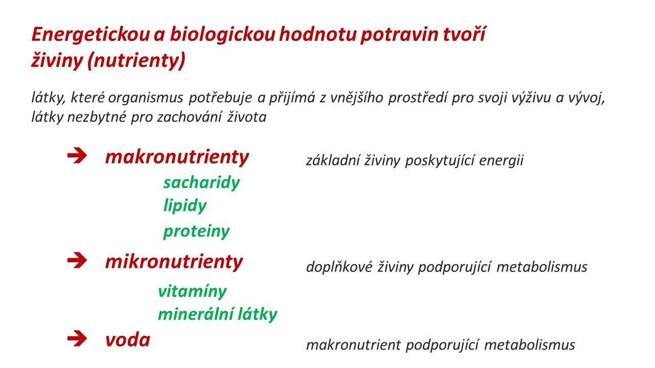 Energetickou a biologickou hodnotu potravin tvoří živiny (nutrienty) látky, které organismus potřebuje a přijímá z vnějšího prostředí pro svoji výživu