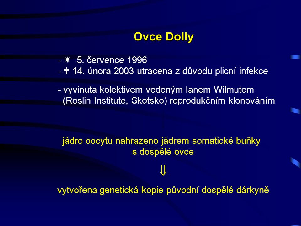 Ovce Dolly -  5. července 1996 -  14.