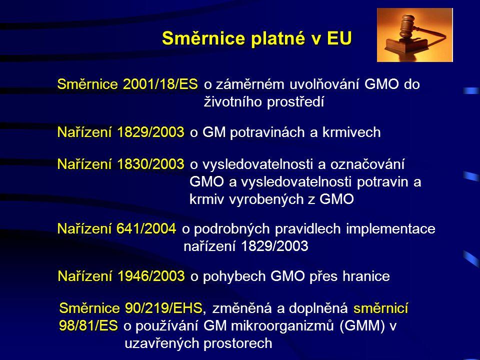 Směrnice platné v EU Směrnice 2001/18/ES Směrnice 2001/18/ES o záměrném uvolňování GMO do životního prostředí Nařízení 1829/2003 Nařízení 1829/2003 o GM potravinách a krmivech Nařízení 1830/2003 Nařízení 1830/2003 o vysledovatelnosti a označování GMO a vysledovatelnosti potravin a krmiv vyrobených z GMO Nařízení 641/2004 Nařízení 641/2004 o podrobných pravidlech implementace nařízení 1829/2003 Nařízení 1946/2003 Nařízení 1946/2003 o pohybech GMO přes hranice Směrnice 90/219/EHSsměrnicí 98/81/ES Směrnice 90/219/EHS, změněná a doplněná směrnicí 98/81/ES o používání GM mikroorganizmů (GMM) v uzavřených prostorech