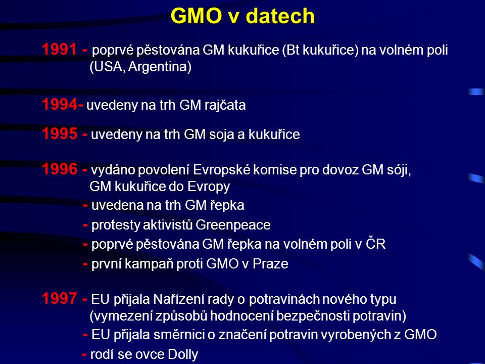 1991 - poprvé pěstována GM kukuřice (Bt kukuřice) na volném poli (USA, Argentina) 1994- uvedeny na trh GM rajčata 1995 - uvedeny na trh GM soja a kukuřice 1996 - vydáno povolení Evropské komise pro dovoz GM sóji, GM kukuřice do Evropy - uvedena na trh GM řepka - protesty aktivistů Greenpeace - poprvé pěstována GM řepka na volném poli v ČR - první kampaň proti GMO v Praze 1997 - EU přijala Nařízení rady o potravinách nového typu (vymezení způsobů hodnocení bezpečnosti potravin) - EU přijala směrnici o značení potravin vyrobených z GMO - rodí se ovce Dolly GMO v datech