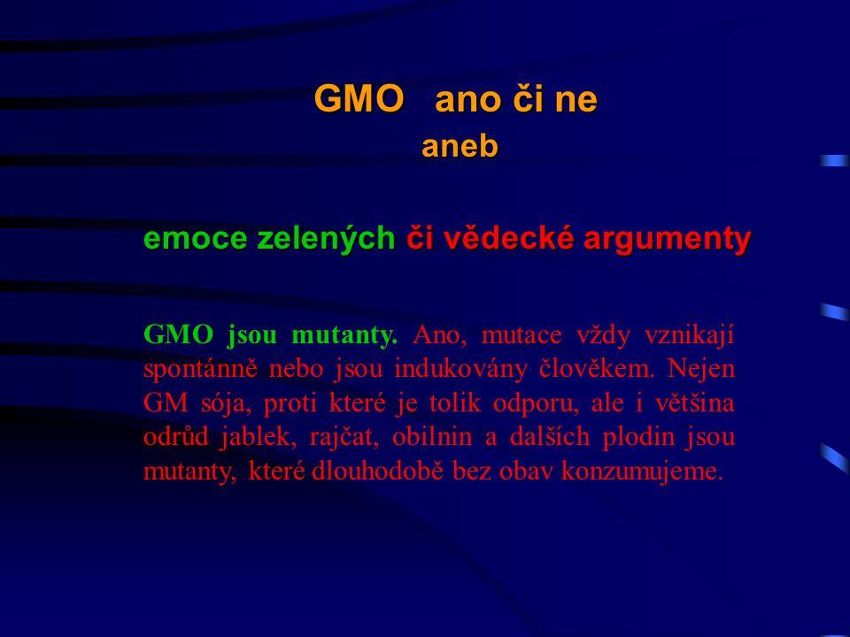 GMO jsou mutanty.Ano, mutace vždy vznikají spontánně nebo jsou indukovány člověkem.