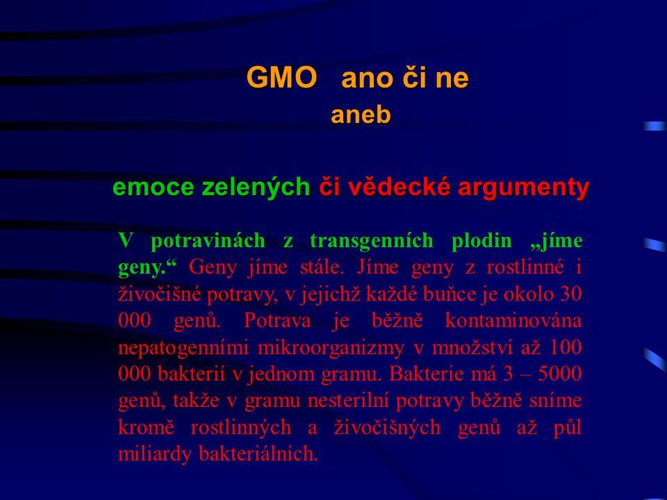 """V potravinách z transgenních plodin """"jíme geny. Geny jíme stále."""