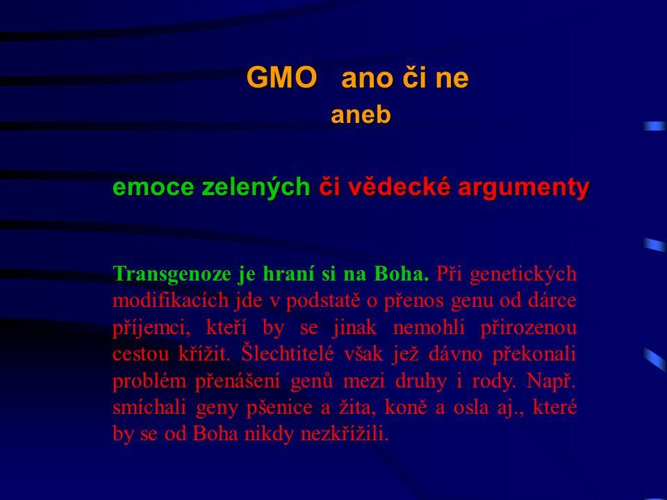 Transgenoze je hraní si na Boha.