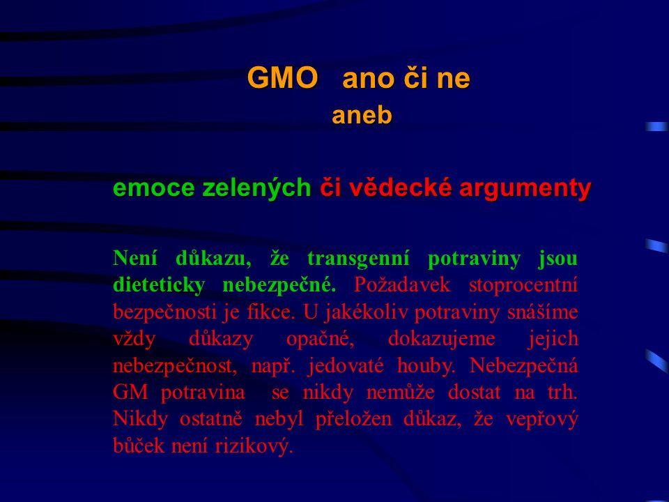 Není důkazu, že transgenní potraviny jsou dieteticky nebezpečné.