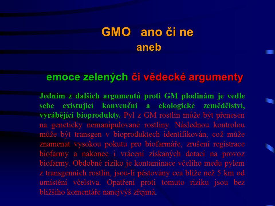 Jedním z dalších argumentů proti GM plodinám je vedle sebe existující konvenční a ekologické zemědělství, vyrábějící bioprodukty.