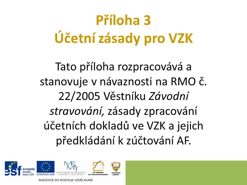 Příloha 3 Účetní zásady pro VZK Tato příloha rozpracovává a stanovuje v návaznosti na RMO č. 22/2005 Věstníku Závodní stravování, zásady zpracování úč