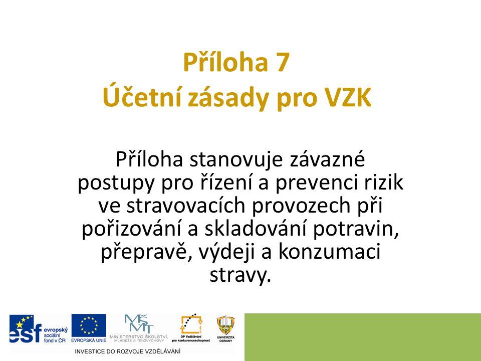 Příloha 7 Účetní zásady pro VZK Příloha stanovuje závazné postupy pro řízení a prevenci rizik ve stravovacích provozech při pořizování a skladování potravin, přepravě, výdeji a konzumaci stravy.