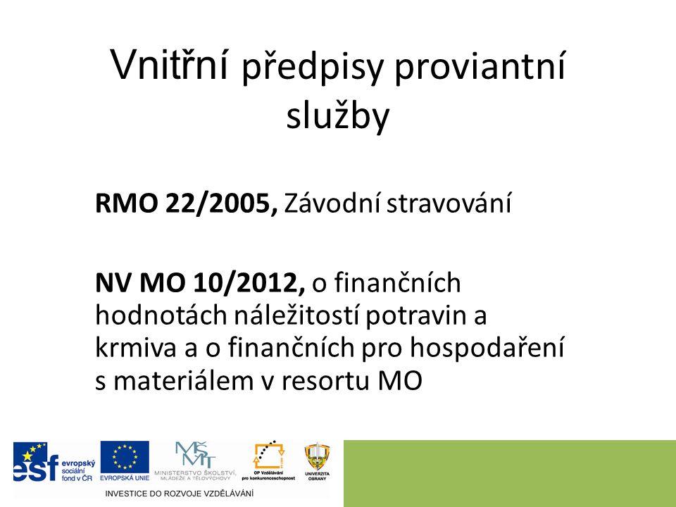 Vnitřní předpisy proviantní služby RMO 22/2005, Závodní stravování NV MO 10/2012, o finančních hodnotách náležitostí potravin a krmiva a o finančních pro hospodaření s materiálem v resortu MO