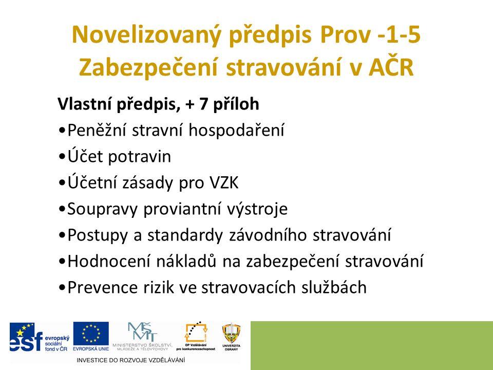 Novelizovaný předpis Prov -1-5 Zabezpečení stravování v AČR Vlastní předpis, + 7 příloh Peněžní stravní hospodaření Účet potravin Účetní zásady pro VZ