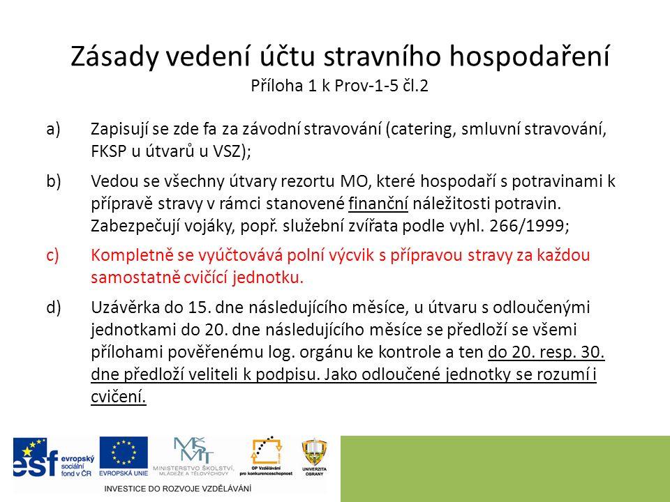 Zásady vedení účtu stravního hospodaření Příloha 1 k Prov-1-5 čl.2 a)Zapisují se zde fa za závodní stravování (catering, smluvní stravování, FKSP u út
