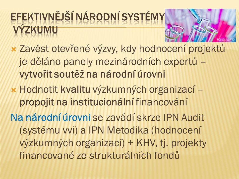  Zavést otevřené výzvy, kdy hodnocení projektů je děláno panely mezinárodních expertů – vytvořit soutěž na národní úrovni  Hodnotit kvalitu výzkumných organizací – propojit na institucionální financování Na národní úrovni se zavádí skrze IPN Audit (systému vvi) a IPN Metodika (hodnocení výzkumných organizací) + KHV, tj.