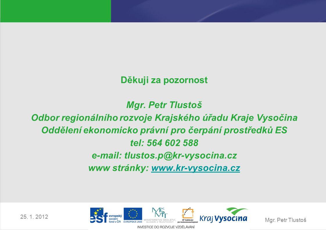 Mgr. Petr Tlustoš 25. 1. 2012 Děkuji za pozornost Mgr.