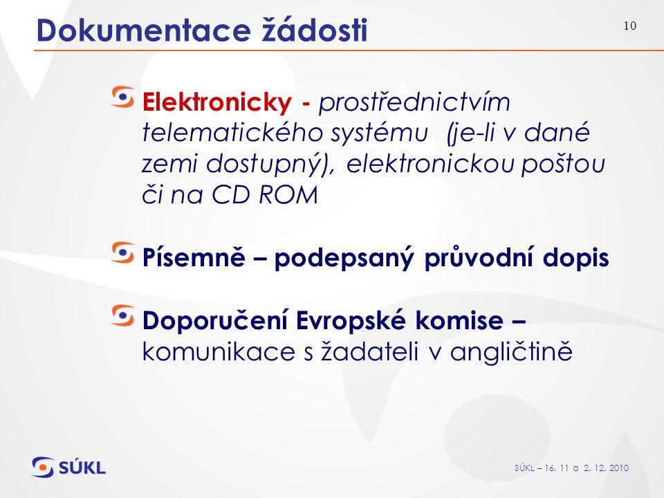 SÚKL – 16. 11 a 2. 12. 2010 10 Dokumentace žádosti Elektronicky - prostřednictvím telematického systému (je-li v dané zemi dostupný), elektronickou po