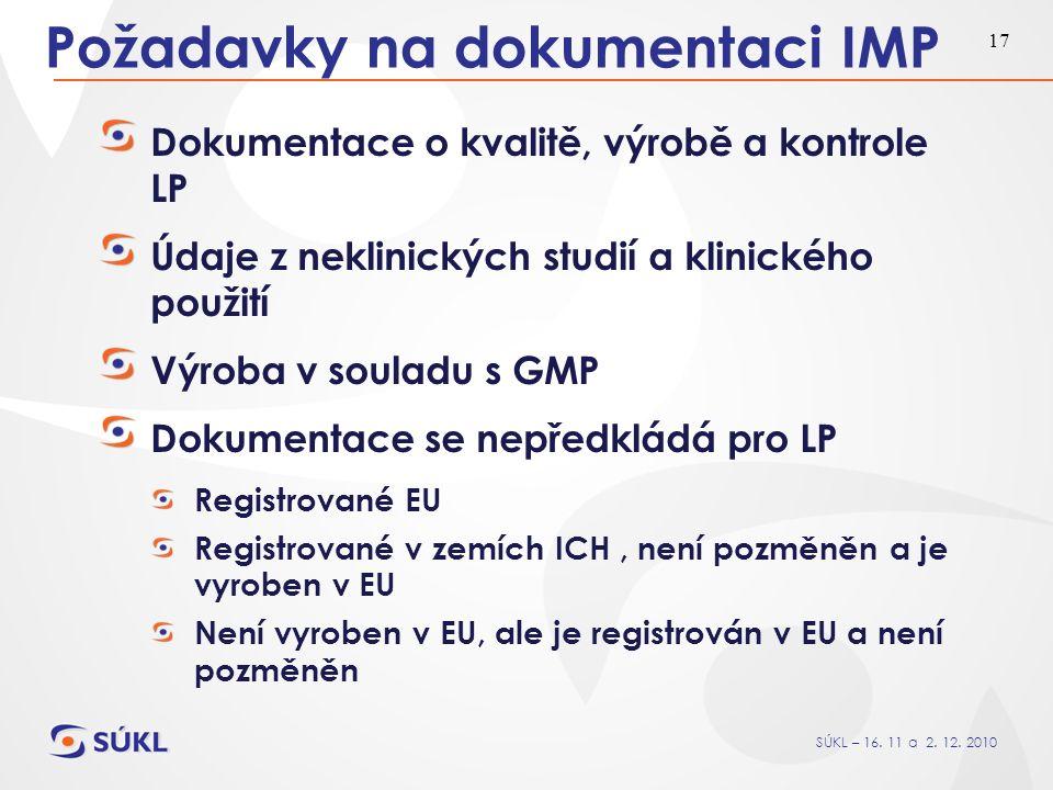 SÚKL – 16. 11 a 2. 12. 2010 17 Požadavky na dokumentaci IMP Dokumentace o kvalitě, výrobě a kontrole LP Údaje z neklinických studií a klinického použi