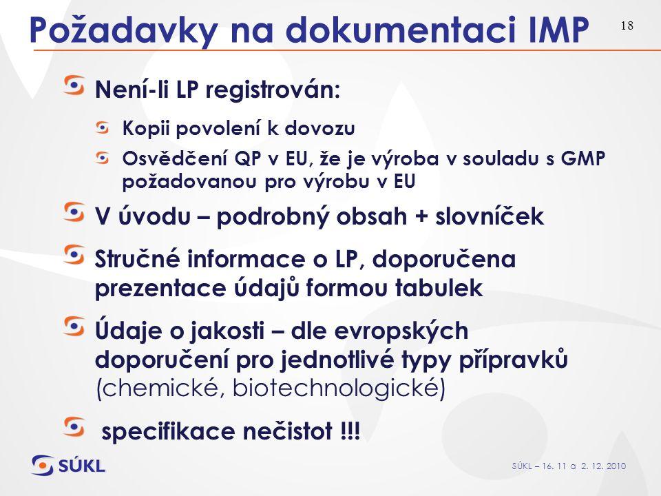 SÚKL – 16. 11 a 2. 12. 2010 18 Požadavky na dokumentaci IMP Není-li LP registrován: Kopii povolení k dovozu Osvědčení QP v EU, že je výroba v souladu