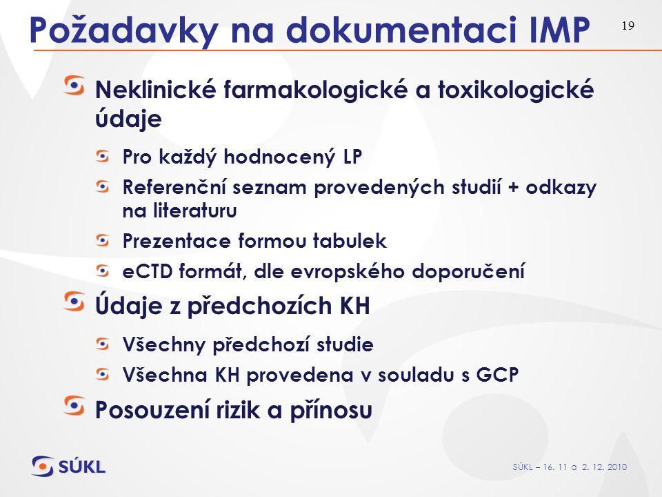 SÚKL – 16. 11 a 2. 12. 2010 19 Požadavky na dokumentaci IMP Neklinické farmakologické a toxikologické údaje Pro každý hodnocený LP Referenční seznam p