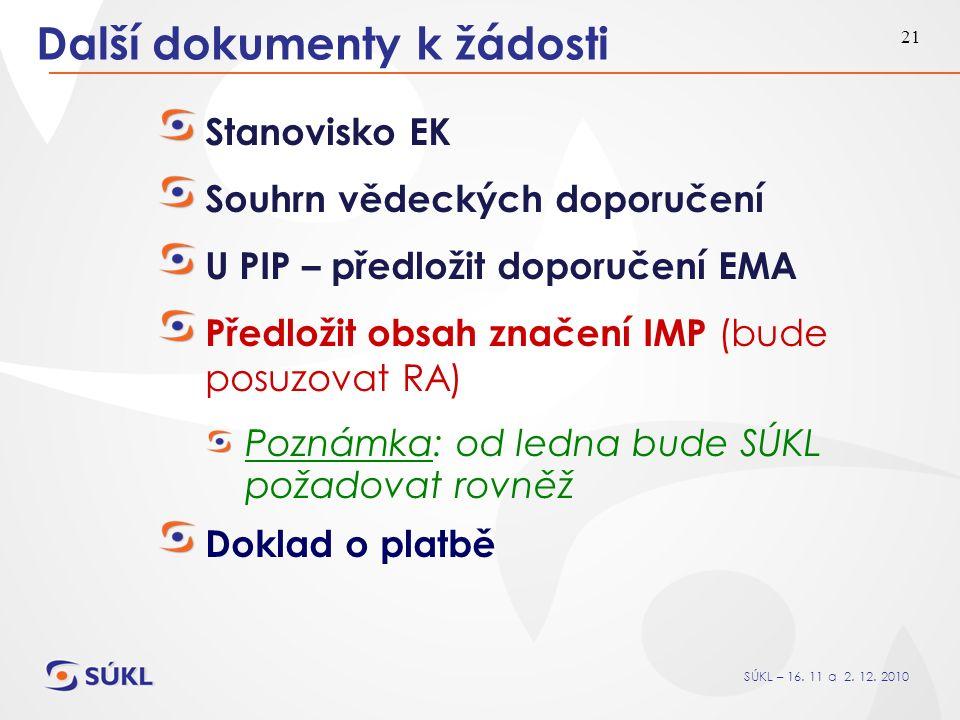 SÚKL – 16. 11 a 2. 12. 2010 21 Další dokumenty k žádosti Stanovisko EK Souhrn vědeckých doporučení U PIP – předložit doporučení EMA Předložit obsah zn